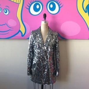 Forever 21 Silver Sequin Party Blazer Jacket